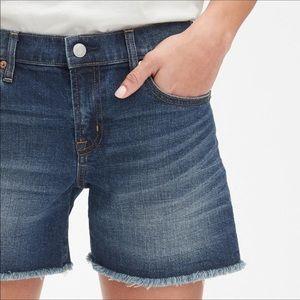 Gap Boyfriend High Rise Raw Hem Denim Shorts